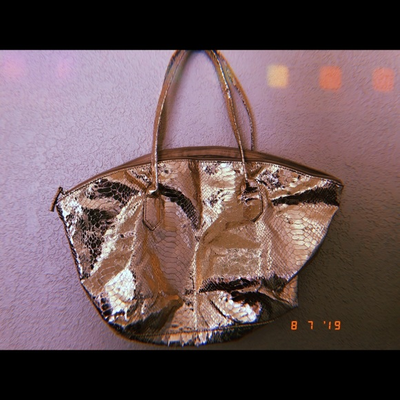 "Elizabeth Arden Handbags - ""Metallic gold"" lizard embossed leather"